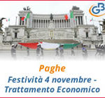 Paghe GB Web 2018: Festività 4 novembre - Trattamento Economico