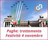 Paghe GB Web 2017: trattamento economico Festività 4 novembre