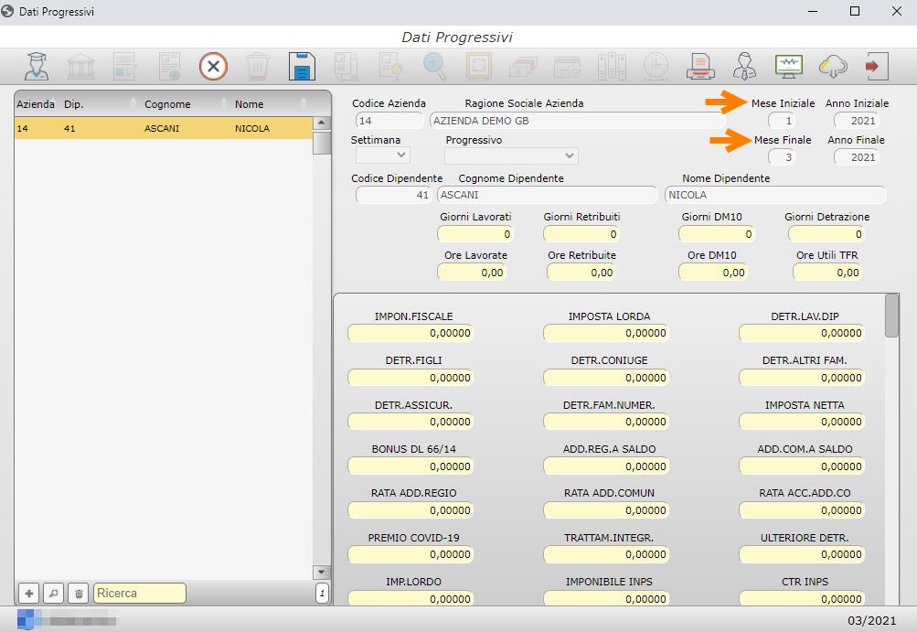 Gestione Progressivi: Paghe web GB: Dati progressivi