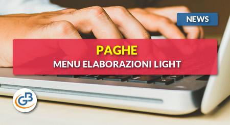 News - Paghe GB Web: menu Elaborazioni Light