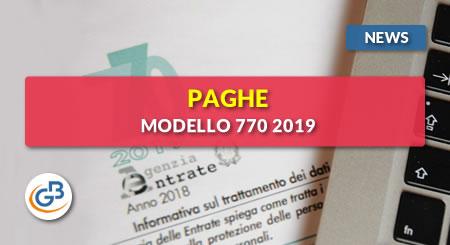 News - Paghe GB Web: Modello 770 2019